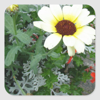 Lacy leaves and flowers square sticker