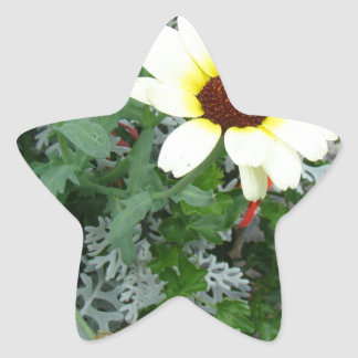 Lacy leaves and flowers star sticker