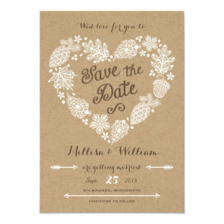 Lacy Leaves - Fall in Love Save the Date 5x7 Paper Invitation Card