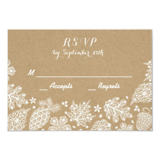 Lacy Leaves Fall Wedding RSVP Card
