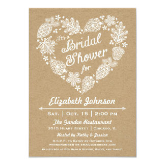 Lacy Leaves Heart Bridal Shower Invitation