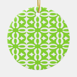 Lacy Lime Victorian Print Round Ceramic Ornament