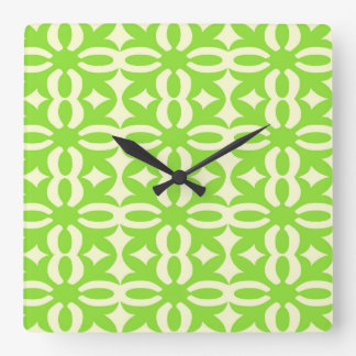 Lacy Lime Victorian Print Square Wall Clock