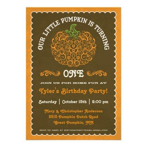 Lacy Little Pumpkin Birthday Invitation II