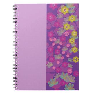 Lacy Lotus Purple Half Stripe Notebook