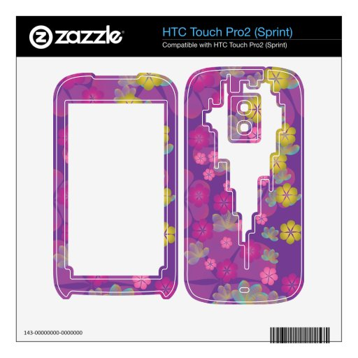 Lacy Lotus Purple HTC Touch Pro2 Skins