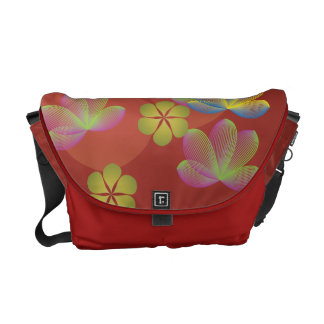 Lacy Lotus Red Messenger Bag