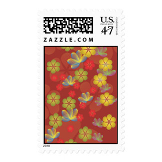 Lacy Lotus Red Postage Stamp