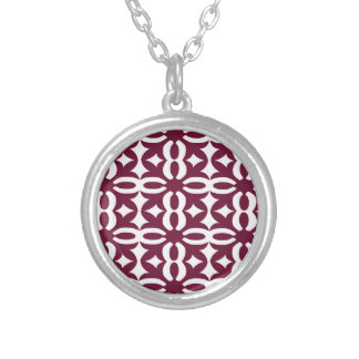 Lacy Maroon Victorian Print Silver Plated Necklace
