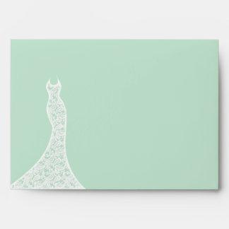 Lacy Mint Bridal Shower Envelope