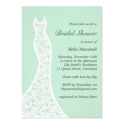 Lacy Mint Bridal Shower Invitation