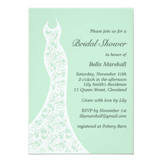 "Lacy Mint Bridal Shower Invitation 5"" X 7"" Invitation Card"
