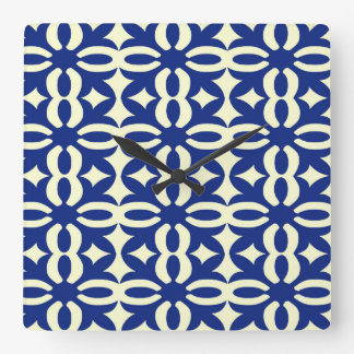 Lacy Navy Blue Victorian Print Square Wall Clock