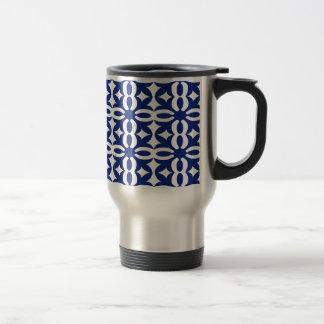 Lacy Navy Blue Victorian Print Travel Mug