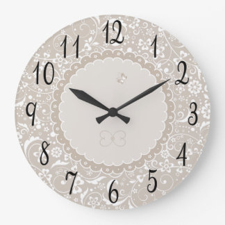 Lacy Neutral Large Clock