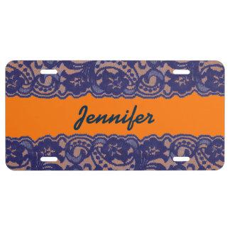 Lacy Orange & Blue License Plate