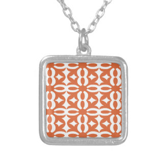 Lacy Orange Victorian Print Silver Plated Necklace