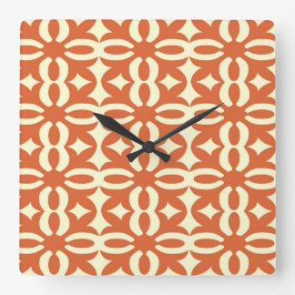 Lacy Orange Victorian Print Square Wall Clock