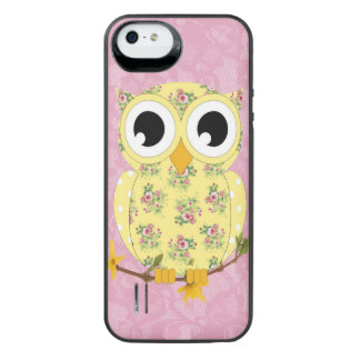 Lacy Owl battery case in pretty yellow & floral