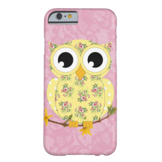 Lacy Owl cell phone case in pretty yellow & floral