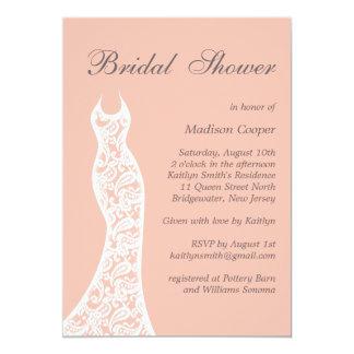 Lacy Peach Bridal Shower Invitation
