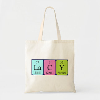 Lacy periodic table name tote bag