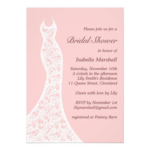 Lacy Pink Bridal Shower Invitation Custom Invitations