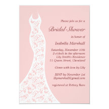 "Lacy Pink Bridal Shower Invitation 5"" X 7"" Invitation Card"