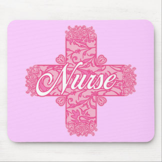 Lacy Pink Nurse Cross Mouse Pad