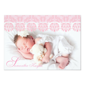 Lacy Pink Photo Birth Announcement