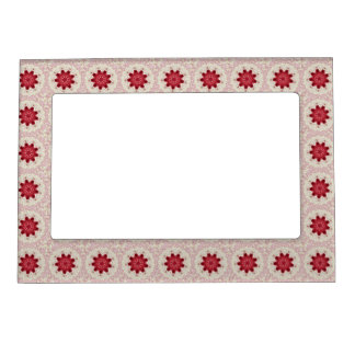 Lacy Pink Valentine Doily Kaleidoscope Magnetic Picture Frame