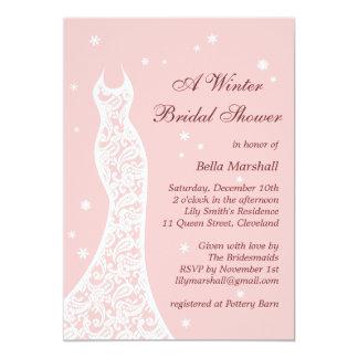 Lacy Pink Winter Bridal Shower Invitation Invites