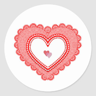 Lacy Red Love Heart Classic Round Sticker