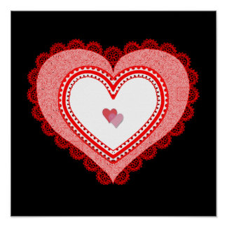 Lacy Red Love Heart Poster