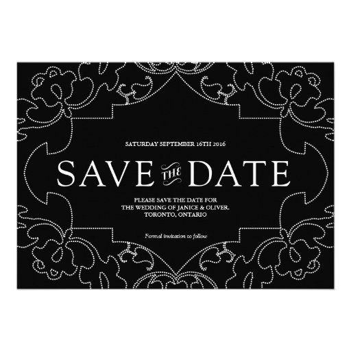 Lacy Save the Date / Black Personalized Invite