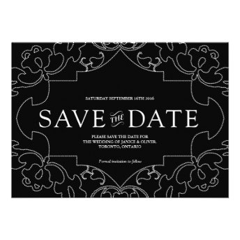 Lacy Save the Date Black Personalized Invite