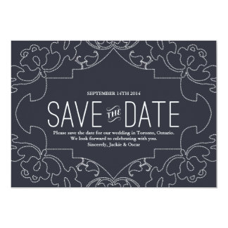 """Lacy Save the Date // Faded Navy 5"""" X 7"""" Invitation Card"""
