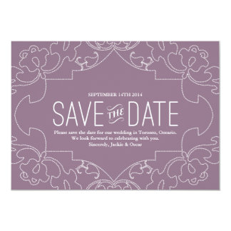 Lacy Save the Date // Orchid or Violet 5x7 Paper Invitation Card