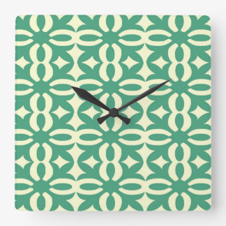 Lacy Seafoam Green Victorian Print Square Wall Clock