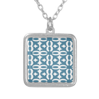 Lacy Slate Blue Victorian Print Silver Plated Necklace