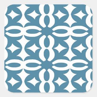 Lacy Slate Blue Victorian Print Square Sticker