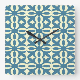 Lacy Slate Blue Victorian Print Square Wall Clock