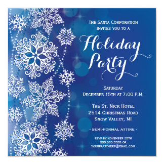 Lacy Snowflakes Holiday Party Invitation Blue