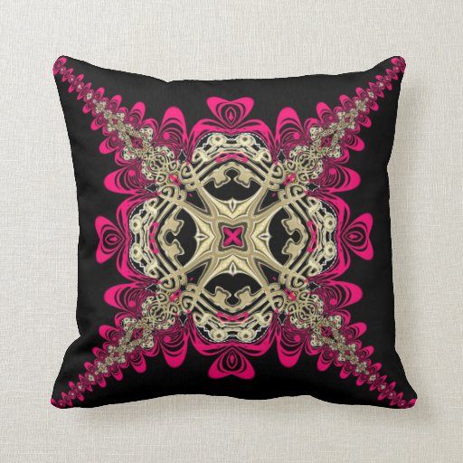 Lacy Sweethearts Hot Pink Black & Gold Big Cushion