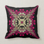 Lacy Sweethearts Hot Pink Black & Gold Big Cushion Pillow