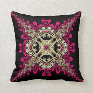 Lacy Sweethearts Hot Pink Black & Gold Big Cushion Pillow