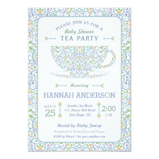 lacy teacup baby shower blue tea party invitation