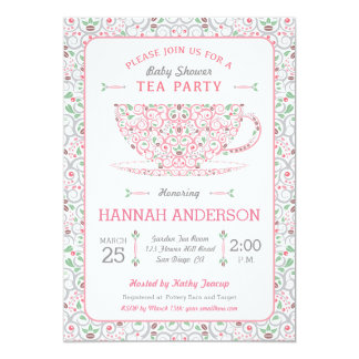 lacy teacup baby shower pink tea party invitation