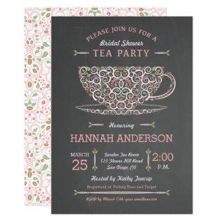 Lacy Teacup Bridal Shower Tea Party Invitation I