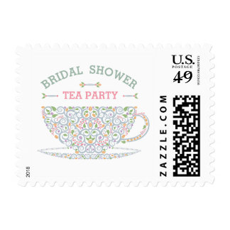 Lacy Teacup Bridal Shower Tea Party Stamp II
